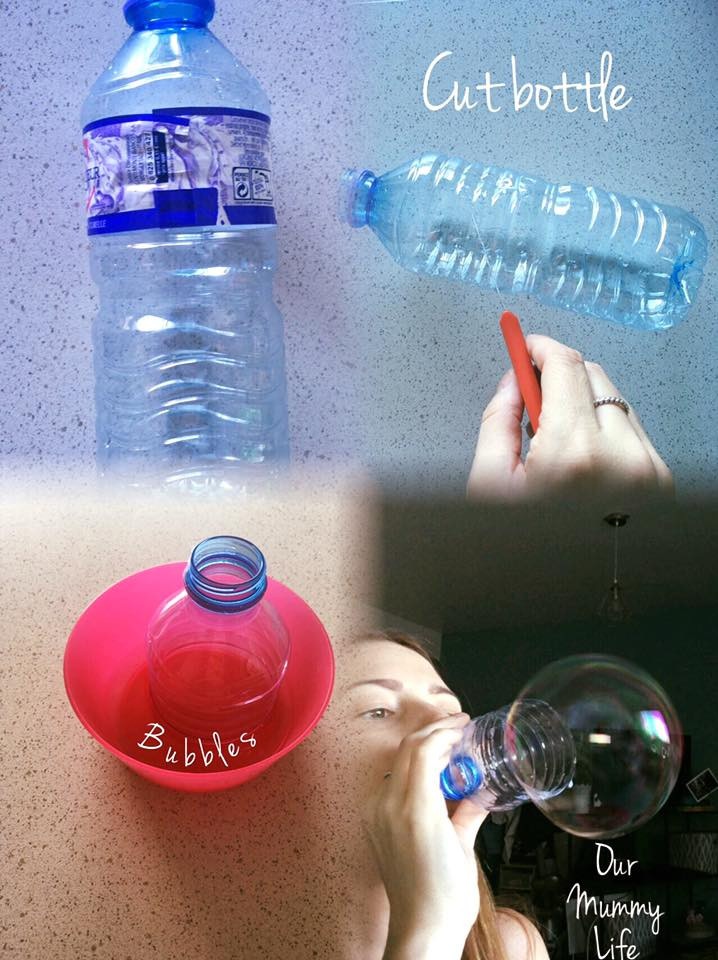 Here is a fun way to change up your every day bubble play!   Materials Needed: Plastic bottle (round shape) Sharp cutting tool Small dish Bubbles  *Cut small plastic bottle in half. Try to make the edge even and flat with the surface.  *Take the end with the spout and dip in a dish with bubble solution.  (Try these Homemade bubble solutions... http://www.diynetwork.com/how-to/make-and-decorate/crafts/the-two-best-homemade-soap-bubble-recipes  ) *Blow out of spout to get bigger than life bubbles!   Enjoy!!!