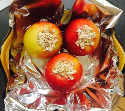 Apples stuffed & ready for baking