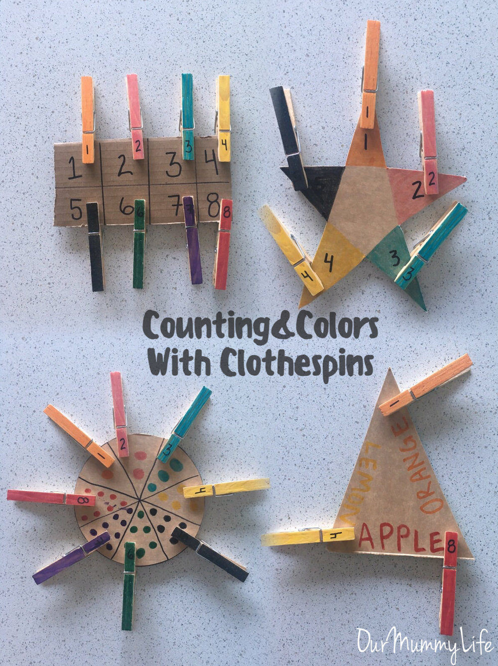 Counting & Colors with Clothespins   The use of clothespins is great for working on fine motor skills. Make it fun by adding in colors, shapes, and numbers. Try using discarded cardboard from cereal boxes or other containers.   Color and number several clothespins.           Then, cut out different cardboard shapes.  Use each shape for different ideas like matching colors and numbers, counting circles, or matching colors with fruit.