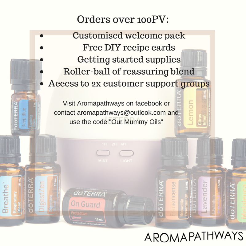 I have absolutely loved exploring the world of essential oils and would 100% recommend them to you and recommend the wonderful Emma. If you are interested, feel free to reach out to Emma at  Aromapathways  (aromapathways@outlook.com)while she is offering a small bundle if you spend 100 PV.  Her Facebook page ( https://www.facebook.com/aromapathways/ ) is also a great resource for amazing recipes like gentle bath wash for the little ones, soothing wet wipes or cleaning products safe for children.
