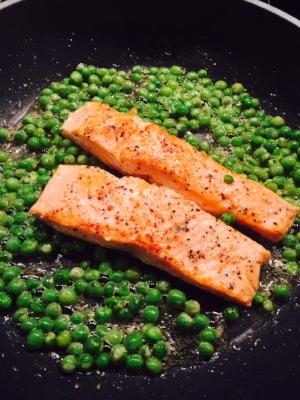 Salmon & Fresh Peas cooking