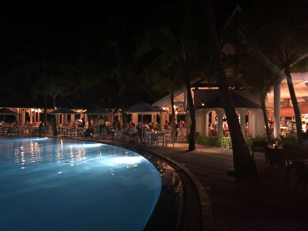 View of Le Superbe a night - seating around the pool is peaceful & romantic