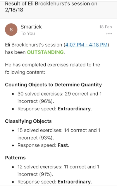 Example of immediate results email sent after each complete session