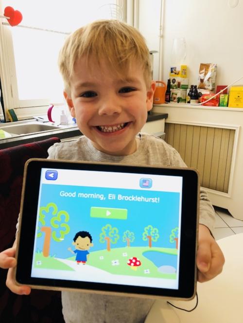 My 4.5 year old son Eli, loving his Smartick Program
