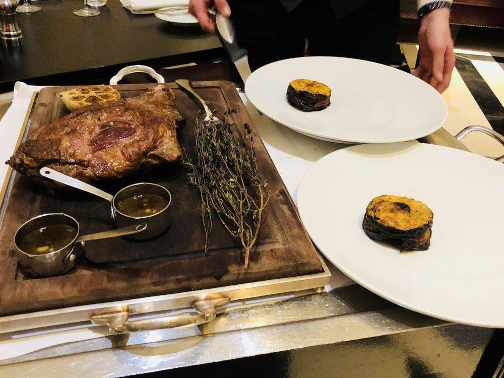 A beautifully prepared roast leg of lamb for two