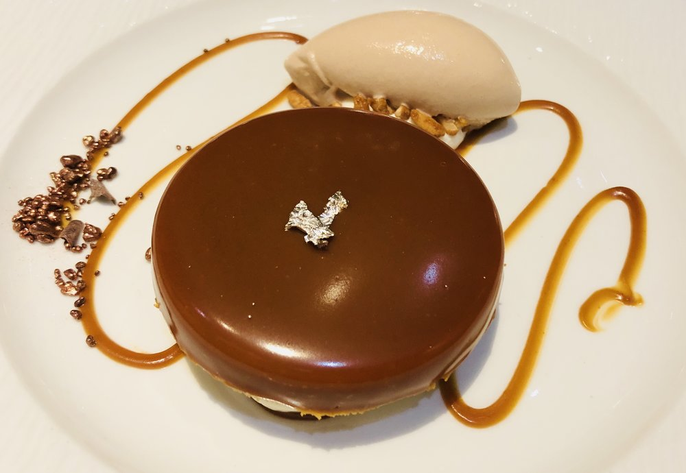 Traditional house speciality caramel shortbread dessert