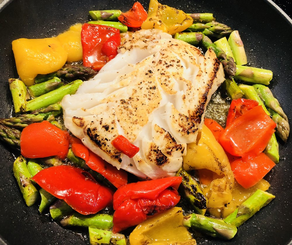 Fish turned, Peppers added & everything cooking through