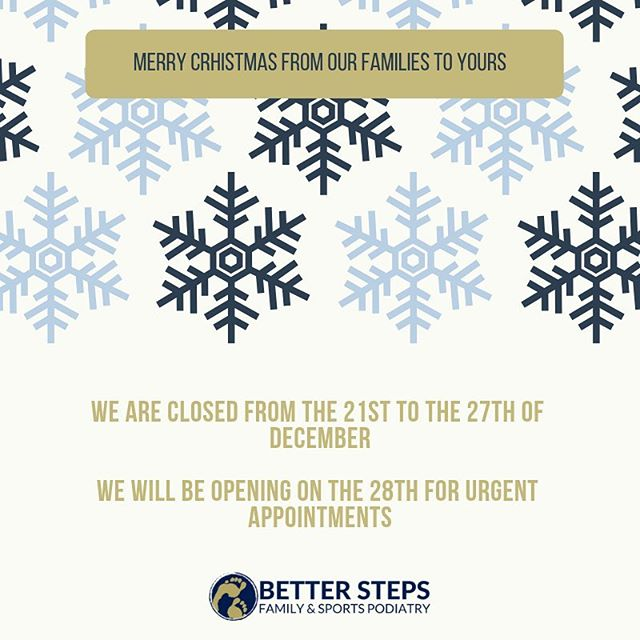 Merry Christmas to all our wonderful patients. Thank you for making this our most favourite job ever. We've had a wonderful year and love our little practice. #betterstepspodiatry #podiatrist #brisbanepodiatrist #bulimba #bulimbabusiness #hawthorne #feet #sportspodiatry #running #biomechanics #weloveourpatients #podiatry