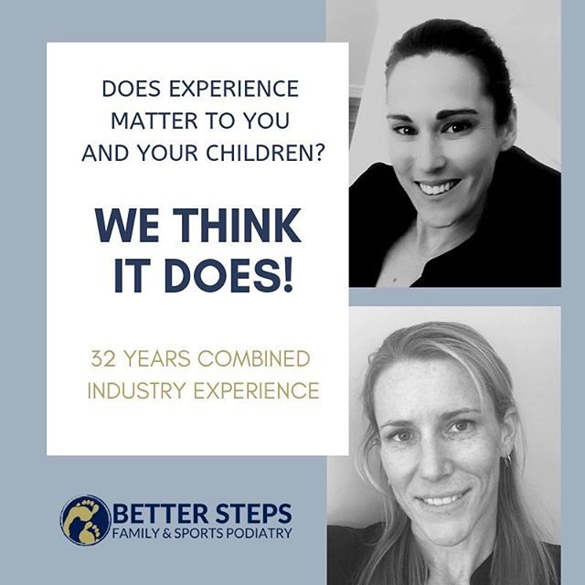 When you're considering which podiatrist to see for you or your family, see us. We have 32 years of combined industry experience. #betterstepspodiatry #brisbanepodiatrist #podiatrist #bulimbabusiness #orthotics #kidspodiatrist #kidsfeet #running #rehab #bulimbapodiatrist #hawthorne #bulimba