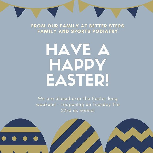 Happy Easter. We hope everyone has a fantastic relaxing break filled with good times and chocolate! #betterstepspodiatry #podiatry #kidsfeet #running #shoes #biomechanics #orthtoics #bulimbapodiatrist #hawthornepodiatrist #bulimbabusiness #bulimba #hawthorne #feet #brisbanepodiatrist