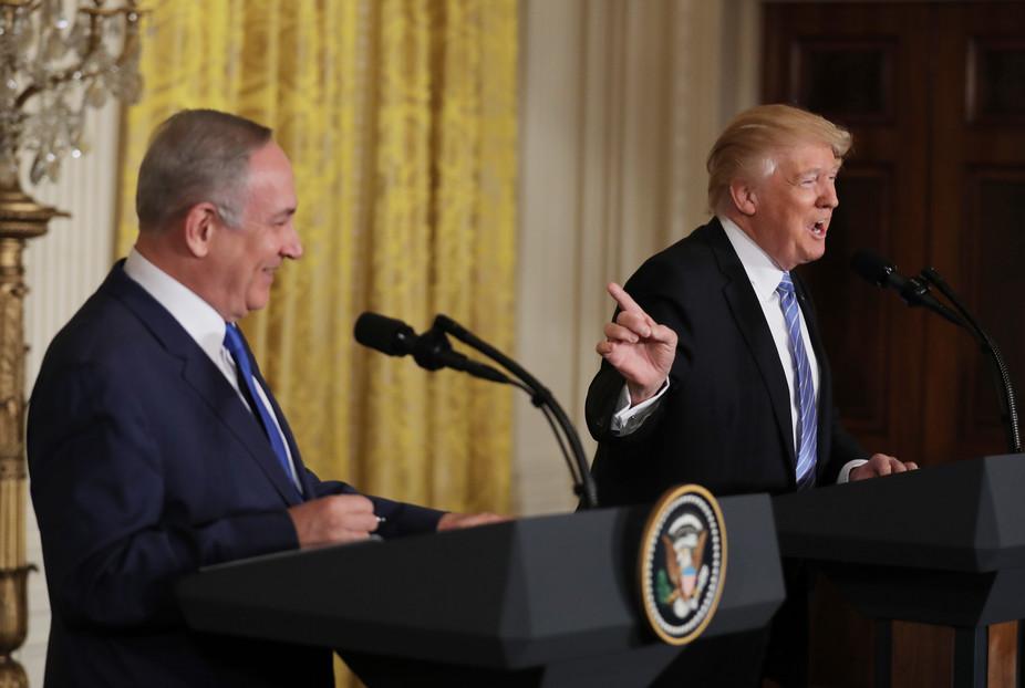 US president Donald Trump and Israeli Prime Minister Benjamin Netanyahu meet in Washington.Reuters/Carlos Barria