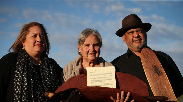 Megan Davis, Pat Anderson from the Referendum Council holding the Uluru Statement from the Heart, and Noel Pearson. Photo: Alex Ellinghausen