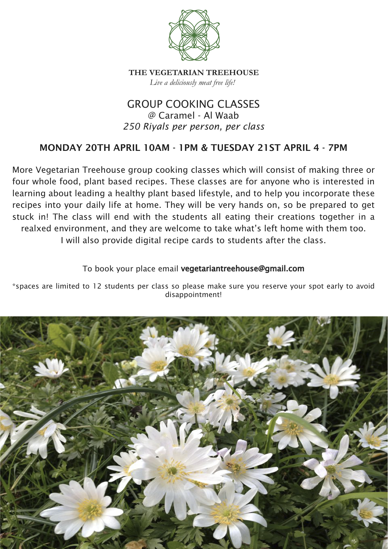 Group cooking classes 20th & 21st April 2015