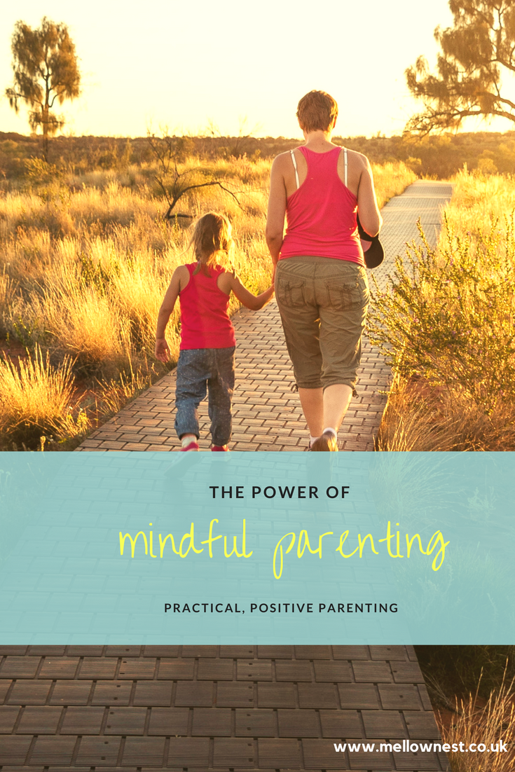 Pinterest pin. Mother and daughter walking hand in hand. Power of mindful parenting