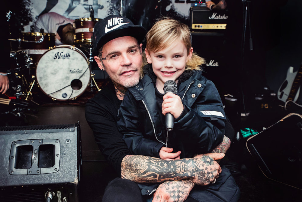 Seth Binzer and his son Phoenix backstage in London before the Crazy Town gig.