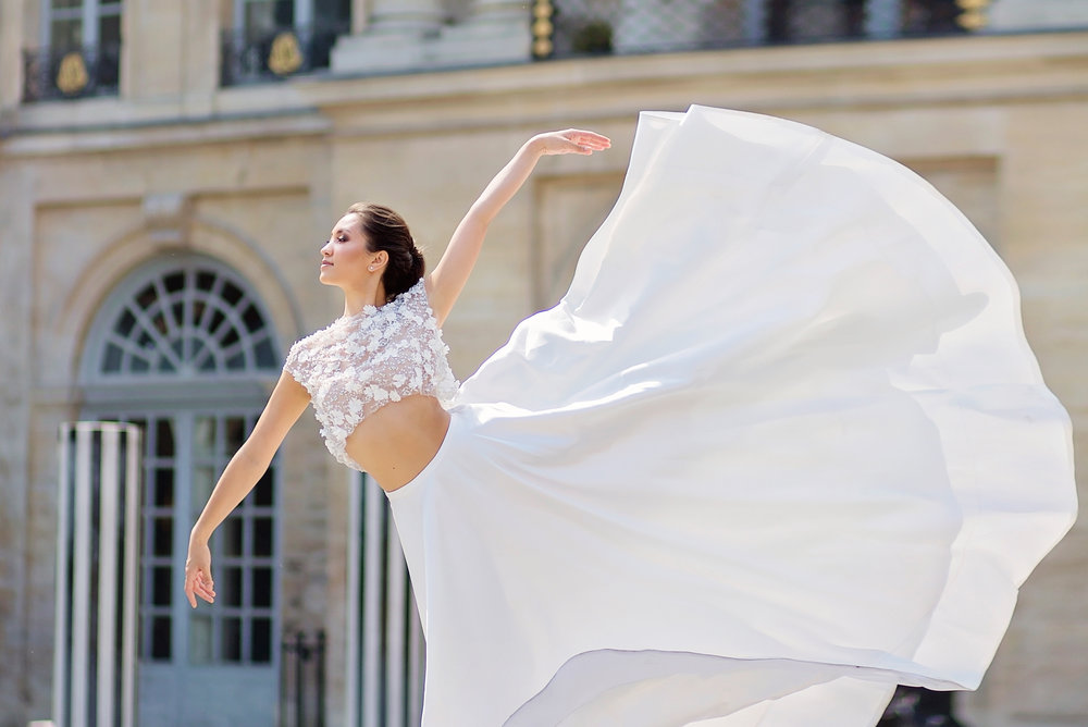 CAROLINA EVANNO PHOTOGRAPHY - Croptop & Skirt; Shoes - Elli Nicole BridalModel - Samantha VastineJewellery - Marion RehwinkelLocation - Palais Royal