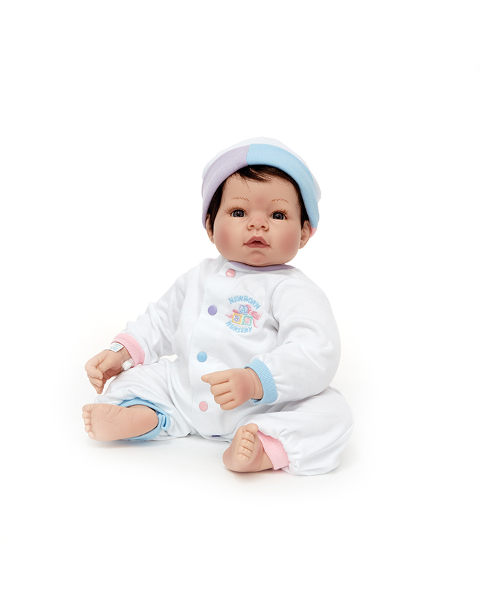 """NEWBORN NURSERY - These 19"""" newborns are designed to look and feel just like a real baby. Realistic features like soft skin and wispy hair encourage your little one to love and nurture. These dolls are recommended for ages 3+ because of their heavier, lifelike weight."""