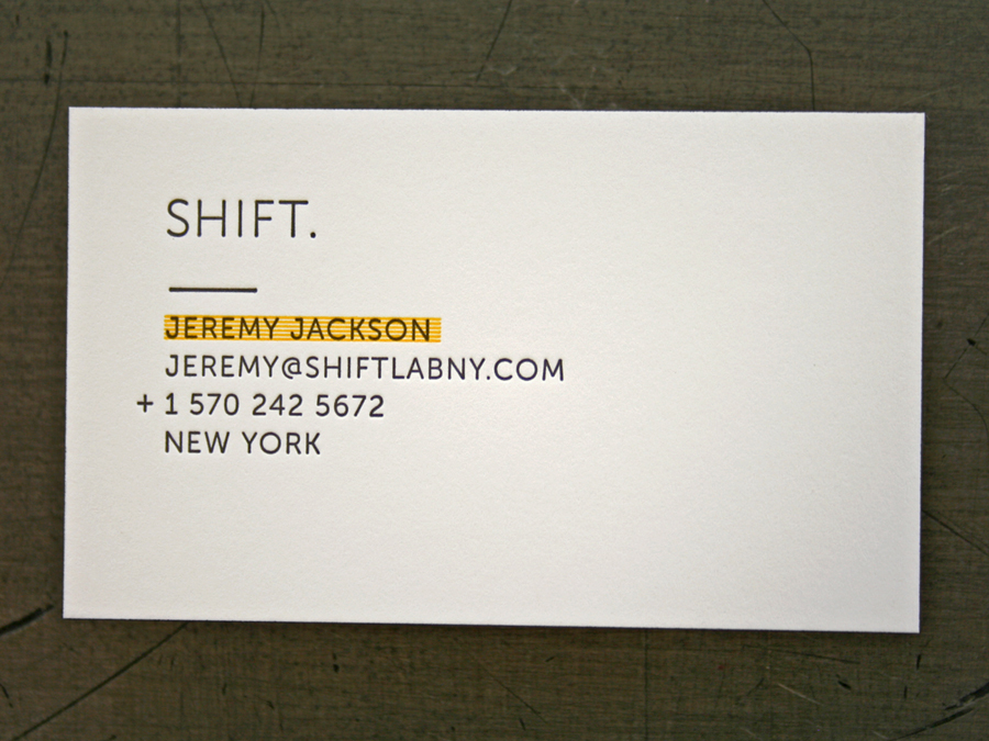 Shift lab ny business cards studio on fire 165 neenah classic crest solar white duplexed to 80 mohawk via vellum safety yellow 21 letterpress inks edge color colourmoves