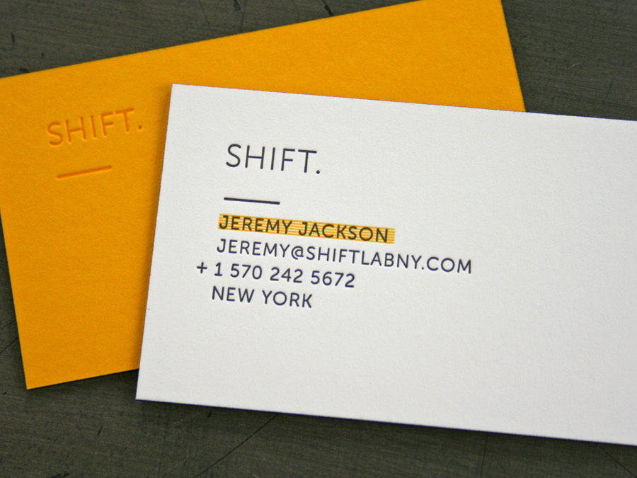 shift lab ny business cards - Letterpress Business Cards