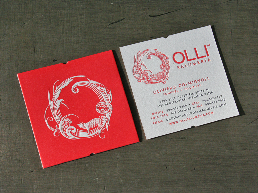 Olli salumeria business cards studio on fire production specs 110 crane lettra fluorescent white duplexed after printing to make 220 cover 21 letterpress inks custom diecut reheart Images