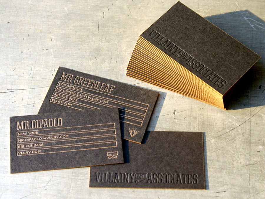 Villainy business cards studio on fire 11 letterpress ink metallic edge color reheart