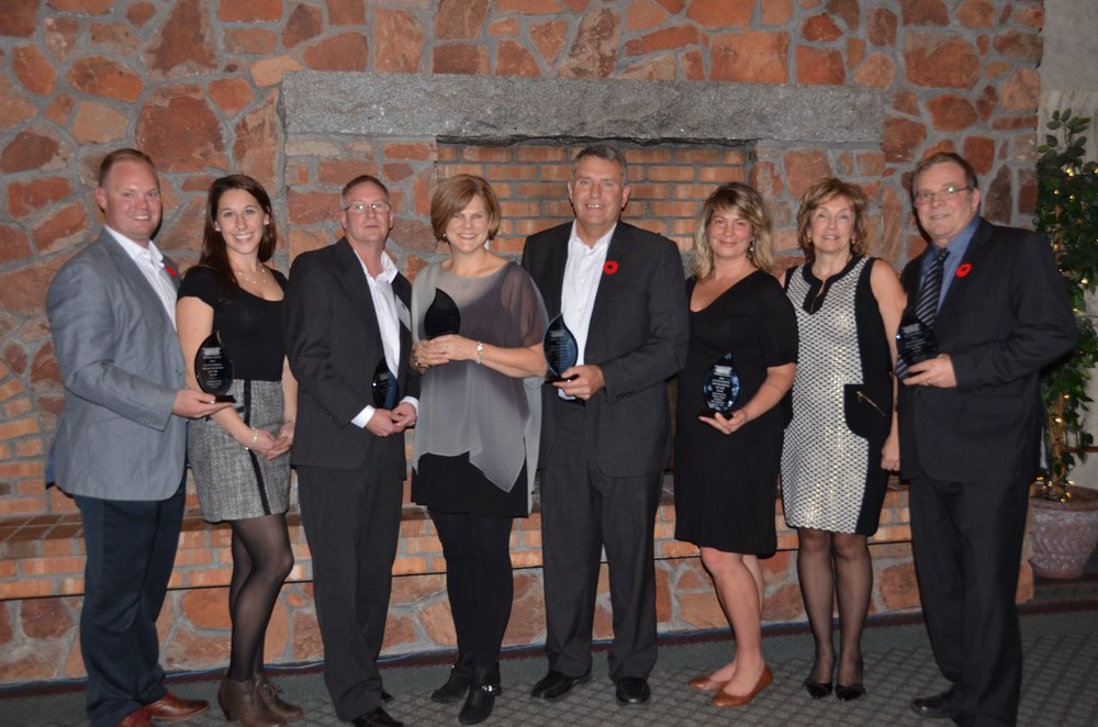 This year's Annapolis Valley Chamber of Commerce Business Award winners. From left: Jake Rideout, Miranda Rideout, Inquisitive Toy Company; Doug Kaizer, Maritime Chicks; Leanne Dobrota, Hutchinson Maple Products Inc.; Lyle Loewen, Eden Valley Poultry; Katie Barbour, Annapolis Cider Company; and Dawna Tibbetts and Eric Tibbetts, Tibbetts Electrical.