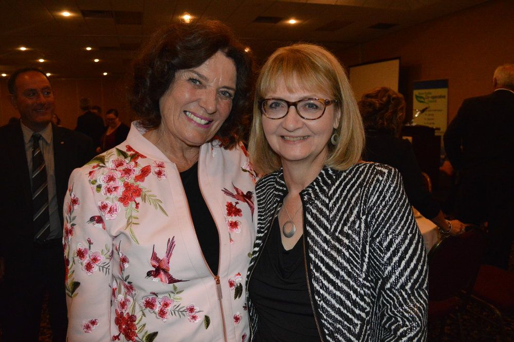 Debbie is pictured at the the Hall of Fame Induction Ceremony with keynote speaker, Margaret Trudeau.  Congratulations Debbie!