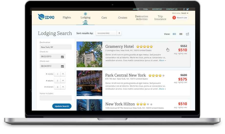 Lodging Search Results