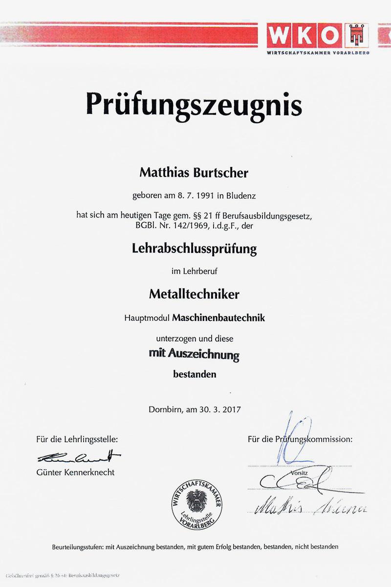 TMV - Erfolgreiche Lehrabschlussprüfung mit Auszeichnung von Matthias Burtscher