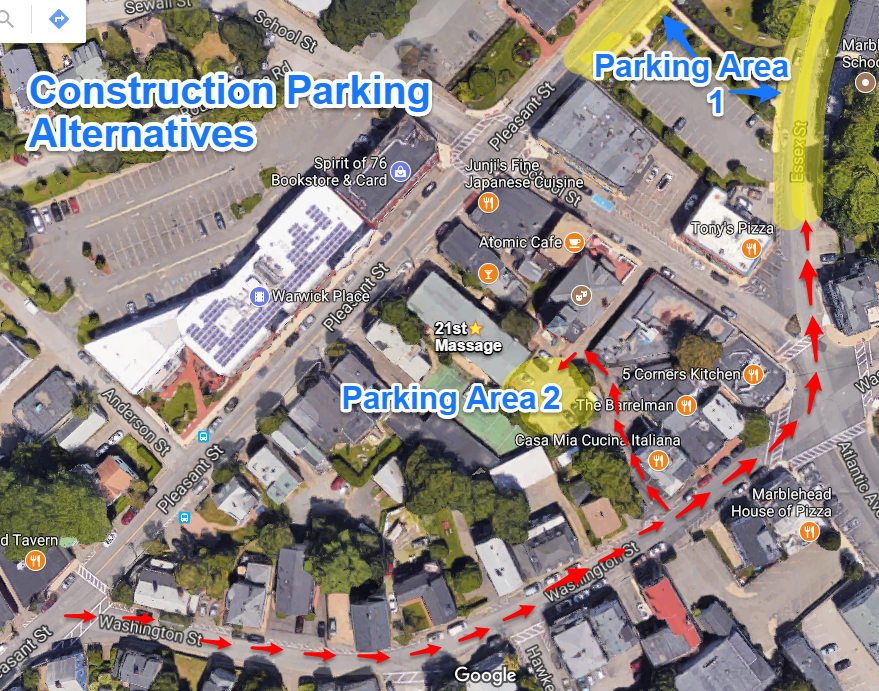 Highlighted areas are suggested parking - Follow red arrows for easy access