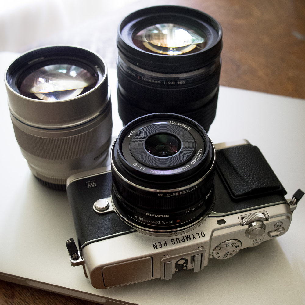 Travel set: E-P5, 17mm f/1.8, 75mm f/1.8, and 12-40 f/2.8 PRO