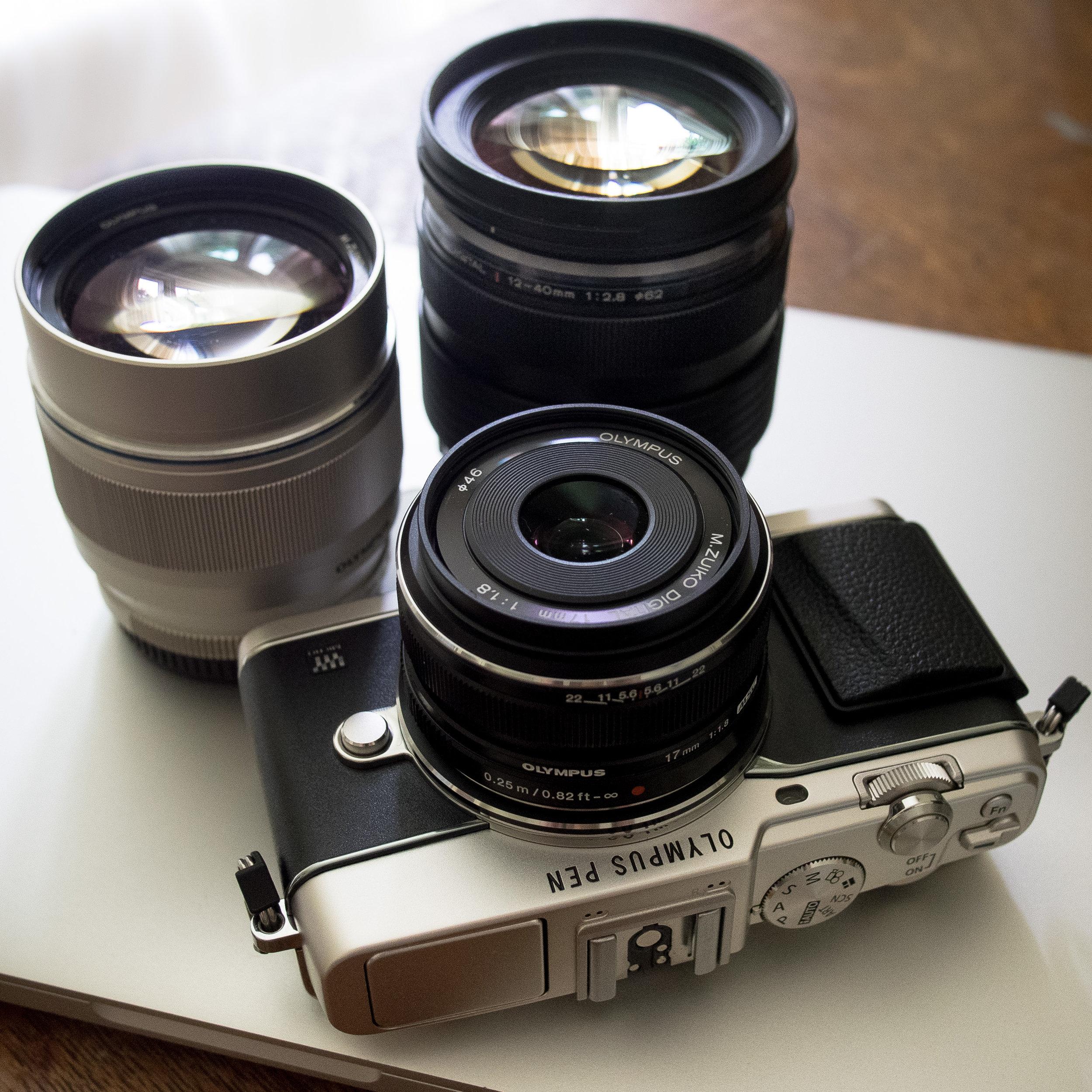 Travel set: E-P5, 17mm f/1.8, 75mm f/1.8, and 12-40 f/2.8 PRO