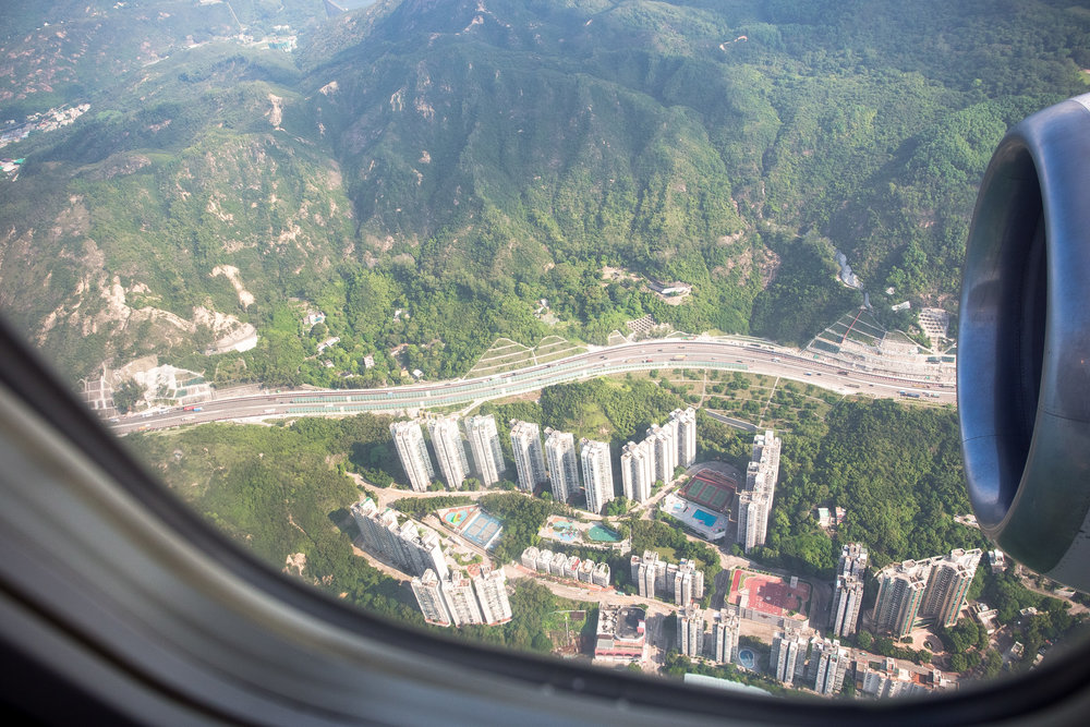 Landing approach to Hong Kong, 9:15am