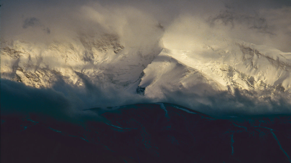 First glimpse of the 'Father of Ice Mountains' after a summer storm.