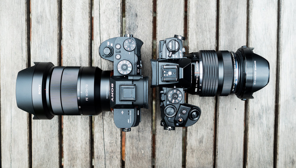 Olympus E-M1 with 12-40 f/2.8 compared to Sony A7Rii with 24-70 f/4