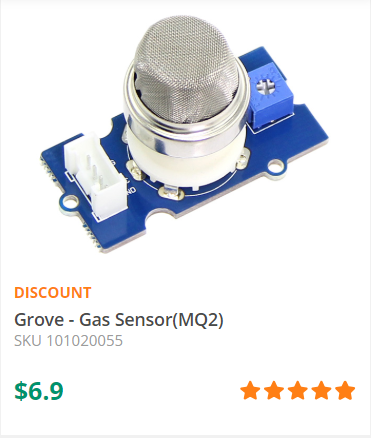 The Grove - Gas Sensor(MQ2) module is useful for gas leakage detecting(in home and industry). It can detect LPG, i-butane, methane, alcohol, Hydrogen, smoke and so on. -