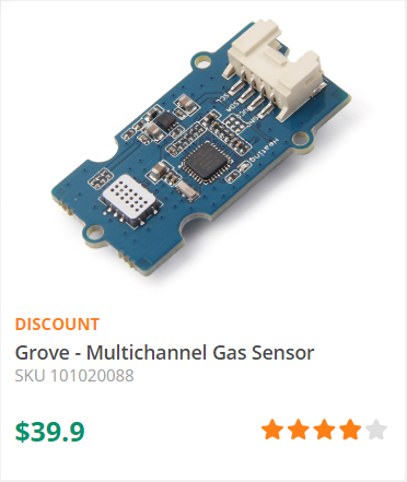 Grove – Multichannel Gas sensor is a environment sensor detecting : Carbon monoxide (CO) , Nitrogen dioxide (NO2) , Hydrogen (H2) , Ammonia (NH3) , Methane (CH4) , etc. -