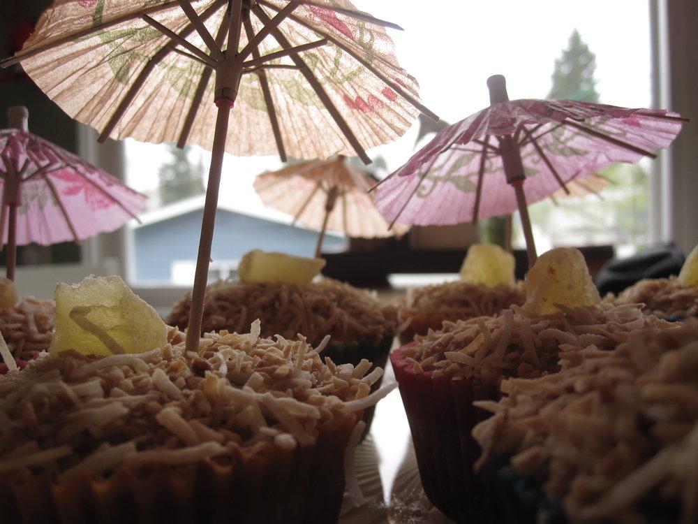 vegan pina colada cupcake