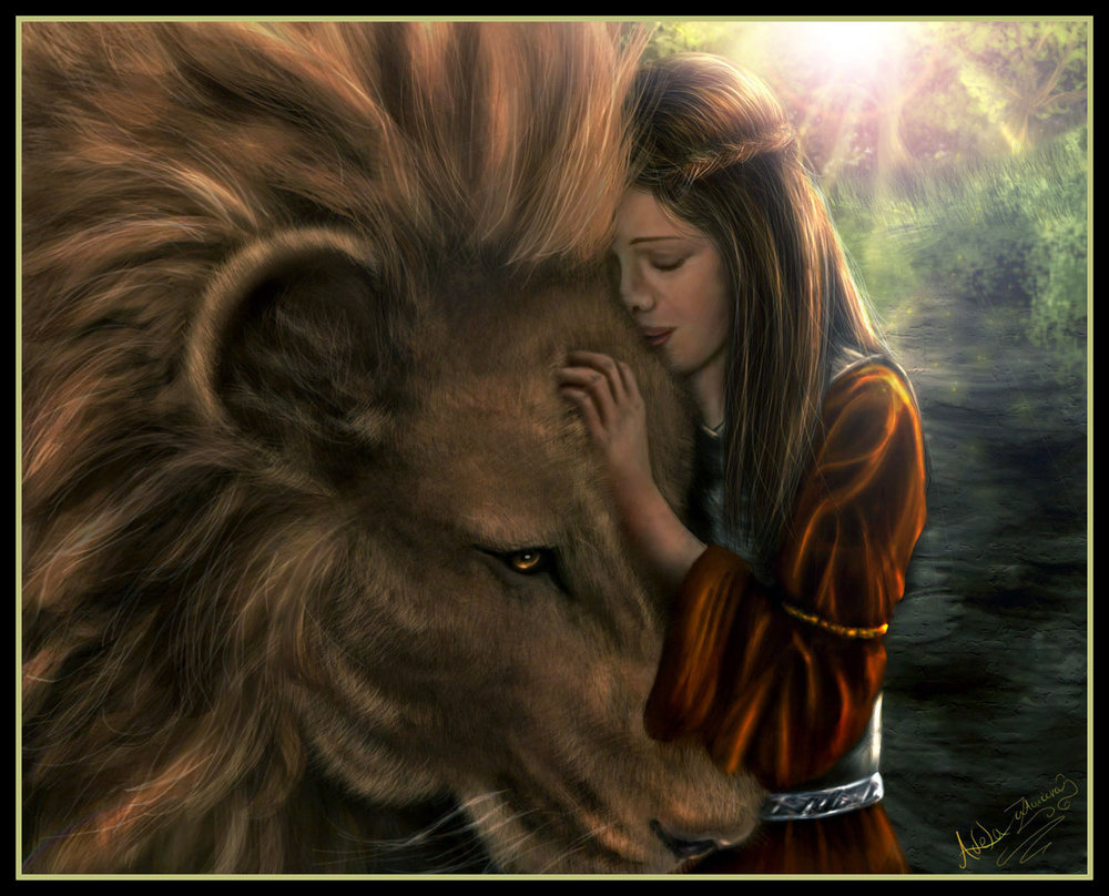 Lucy and Aslan by DarkRone on DeviantArt