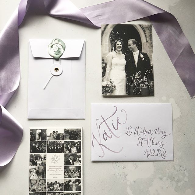 {T H A N K S  A  M I L L I O N} . I can't believe we've already been married 3 months! Here's a look at the thank you cards we sent to our guests....because the stationery doesn't stop with the wedding!this last part of wedmin was fun as it made us take time to reminisce and thank everyone for being there for our special day 💜 . #ukweddingstationer #thankyoucard #weddingthankyou #waxseal #bespokewaxseal #modernwedding #creativewedding #calligraphy #moderncalligraphy #bespokecalligraphy #calligraphylove #weddingstationery #stationery #calligraphyuk #weddinglondon #calligraphylondon #ukwedding #calligraphystyle #modernlettering #happilyeverbathter
