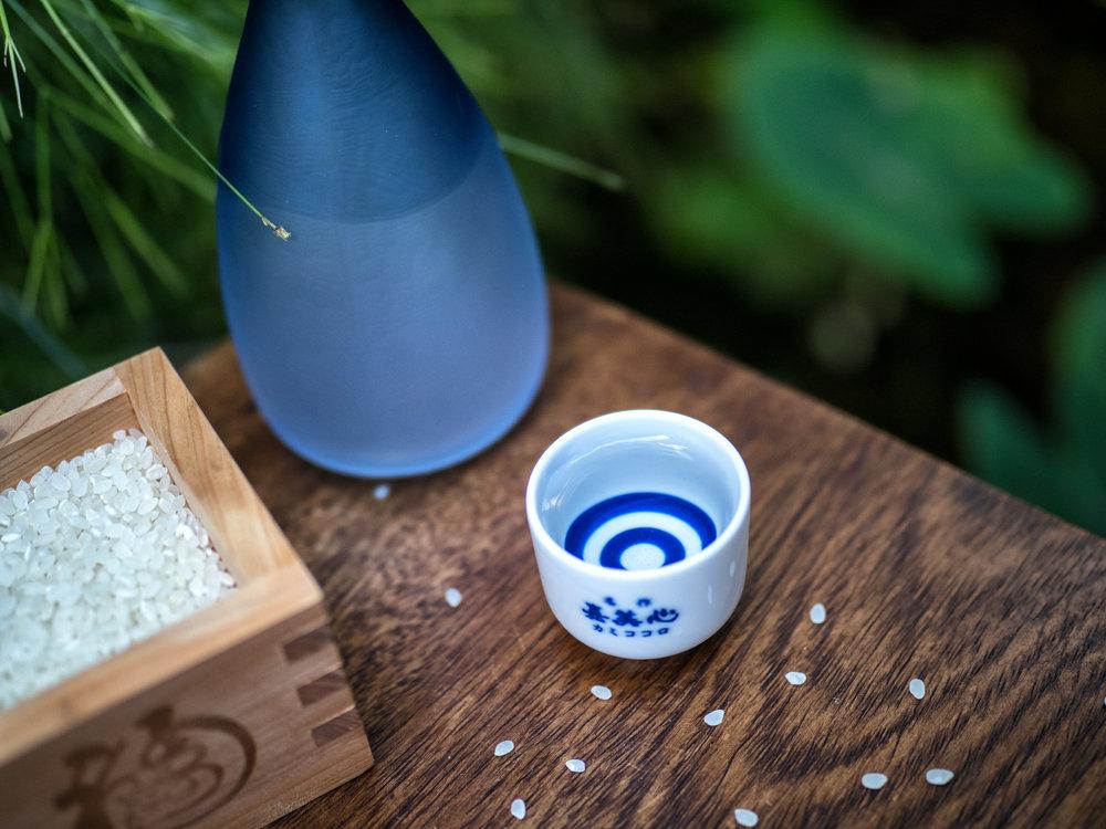 The three amigos. Sake set consisting of the traditional  masu , small  ochoko , and serving  tokkuri .