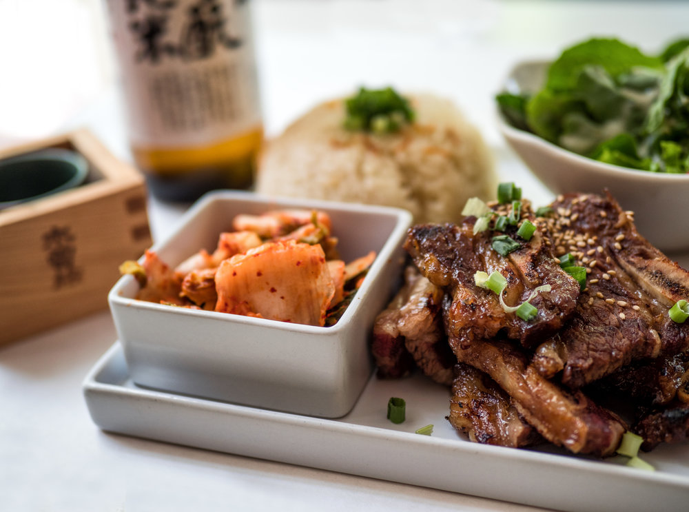 Kalbi  plate, available at  The Rice Place . Sake not included.