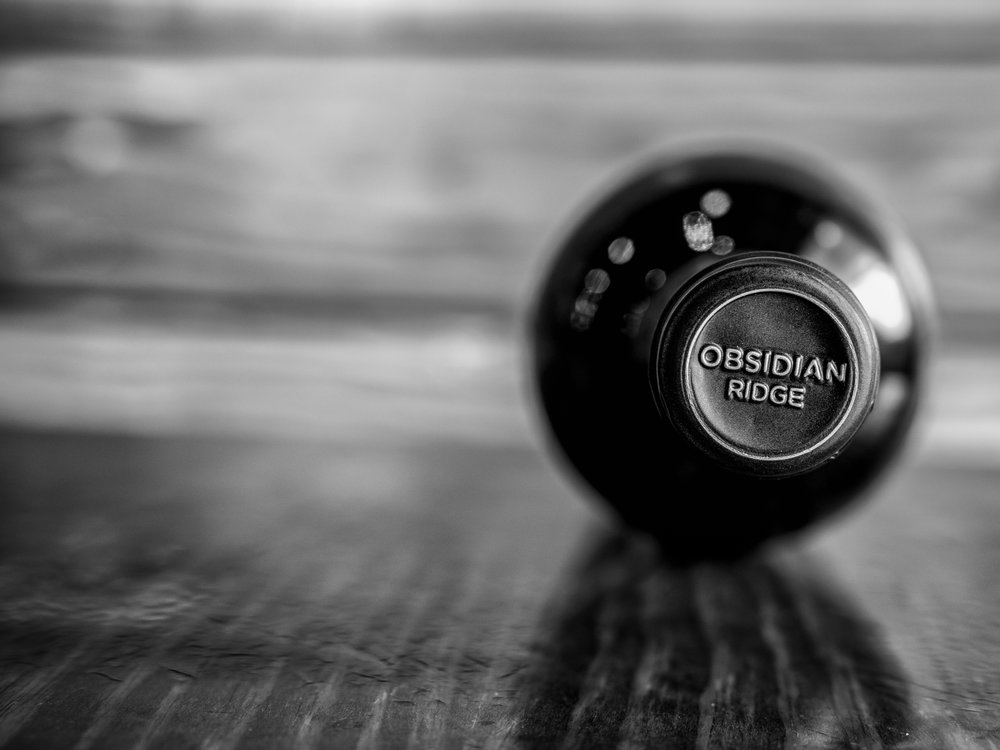 Musings by the Glass - Deductive Challenge - Obsidian Ridge Bottle Vertical Black and White