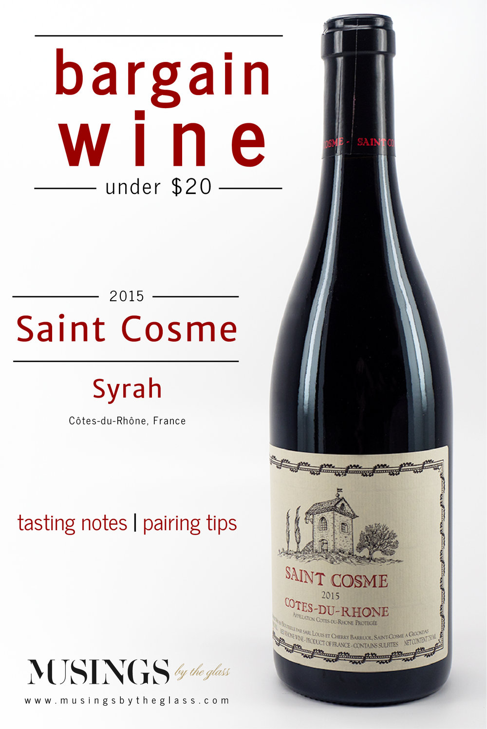 Musings by the Glass - Bargain Wines - Chateau de Saint Cosme Cotes-Du-Rhone Syrah France