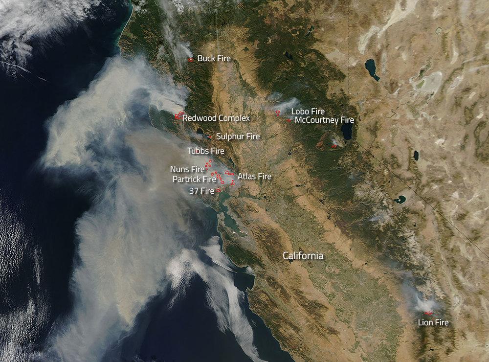From NASA.org - NASA Satellite shows wildfires of Northern California