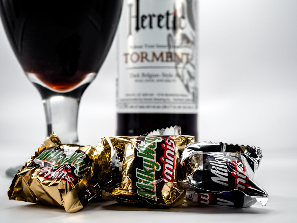Musings by the Glass - Pairing Beer with Halloween Candy - Heretic Torment Belgian Dark Ale and Milky Way