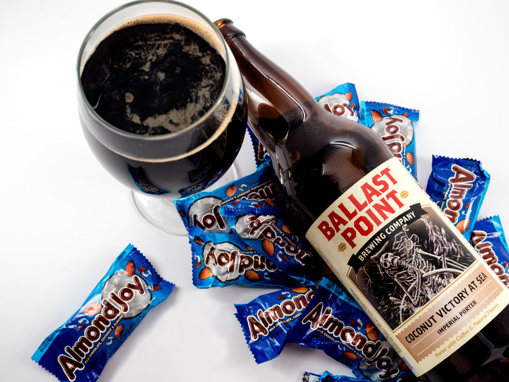 Musings by the Glass - Pairing Beer with Halloween Candy - Almond Joy and Ballast Point Cocounut Victory at Sea Imperial Porter