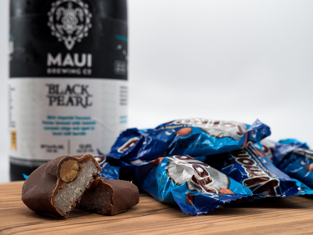 Musings by the Glass - Pairing Beer with Halloween Candy - Almond Joy and Maui Brewing Co. Bleack Pearl Coconut Imperial Porter