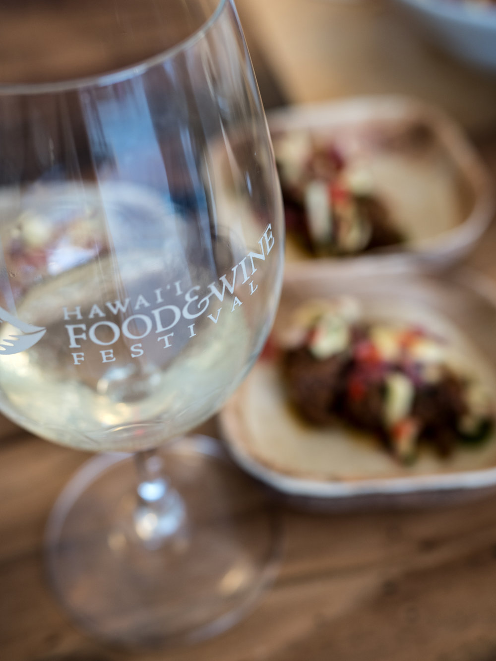 Musings by the Glass - Hawaii Food and Wine Festival -  Wine Glasse with Food