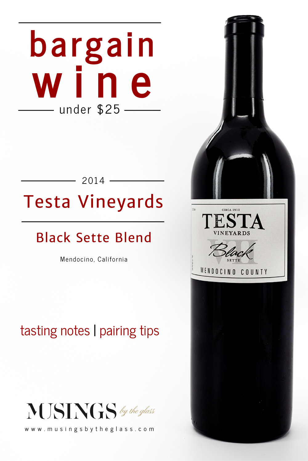 Musings by the Glass - Bargain Wines - Testa Vineyards Black Sette Blend from Mendocino County, California